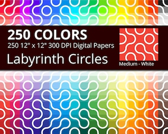 Labyrinth Circles Digital Paper Pack, 250 Colors Circles Digital Paper Labyrinth Pattern, Labyrinth Background, Medium White Curvy Labyrinth