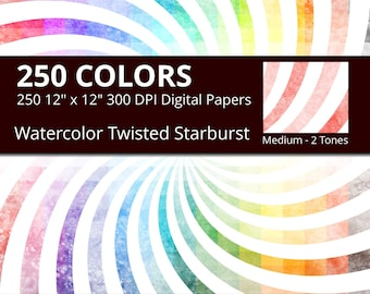 Watercolor Twisted Starburst Digital Paper Pack, 250 Watercolor Digital Paper Starburst Swirl in Rainbow Colors, Spiral Sunburst Watercolor