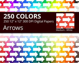 250 White Arrows Digital Paper Pack with 250 Colors, Rainbow Colors Medium White Arrow Pattern Scrapbooking Paper