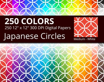 250 White Japanese Circles Digital Paper Pack with 250 Colors, Rainbow Colors White Intersecting Circles Shippou Scrapbooking Paper Download