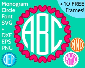 SVG Circle Monogram Font and Alphabet + 10 Round Frames - Round Monogram Font SVG files for Cricut and Silhouette, Round Monogram SVG Font