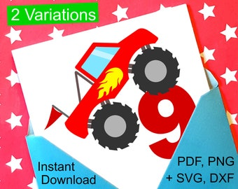 Monster Truck 9th Birthday SVG and Printable Clipart to make a 9th Birthday Shirt, Gift, Card, Invite or Invitations for boys