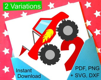 Monster Truck 2nd Birthday SVG and Printable Clipart to make a 2nd Birthday Shirt, Gift, Card, Invite orInvitations for boys