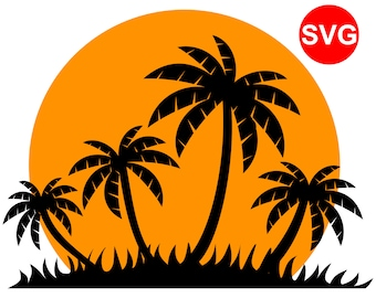Tropical Sunset with Palm Trees SVG File for Cricut and Silhouette