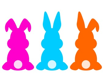 Easter Bunny SVG cut file and Easter Rabbit clipart, set of 3 assorted Easter Bunnies Silhouettes