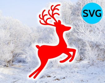 Reindeer SVG Silhouette cut file for Cricut, Jumping Reindeer with 4 legs and 2 antlers, Christmas SVG files, Reindeer Silhouette Design