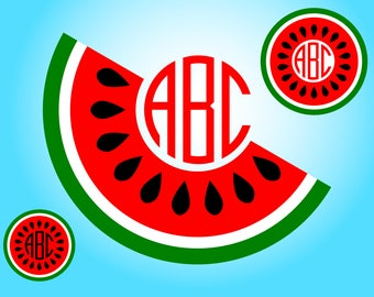 Watermelon Monogram Frames SVG files for Cricut and Silhouette