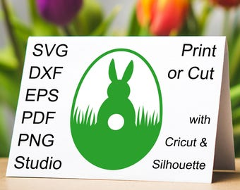 Very Cute Easter Egg SVG design with a Easter Bunny silhouette, to make homemade Easter cards and Easter Egg Hunt invites