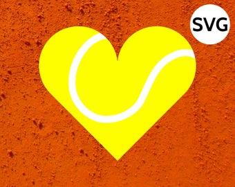 Tennis Heart Ball SVG file for Cricut & Silhouette, Heart shaped Tennis Ball SVG files, Love Tennis SVG clipart, Tennis svg file