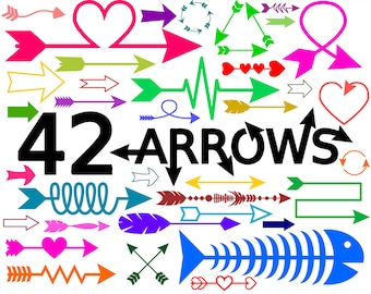 Arrows SVG Bundle with 42 Arrow SVG Files for Silhouette and Cricut
