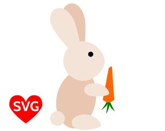 A very cute Easter Bunny SVG file with a cute rabbit eating a carrot