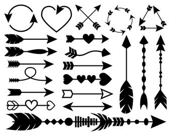 Arrows SVG Bundle with 21 Arrow SVG files and printable clipart decorated with hearts, beads and feathers