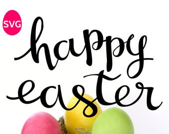 Happy Easter SVG file, handwritten calligraphy design to make Happy Easter shirts, cards and yard signs