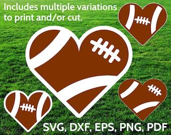 Football Heart SVG designs - Football Love SVG cut files for Cricut & Silhouette - Football SVG clipart