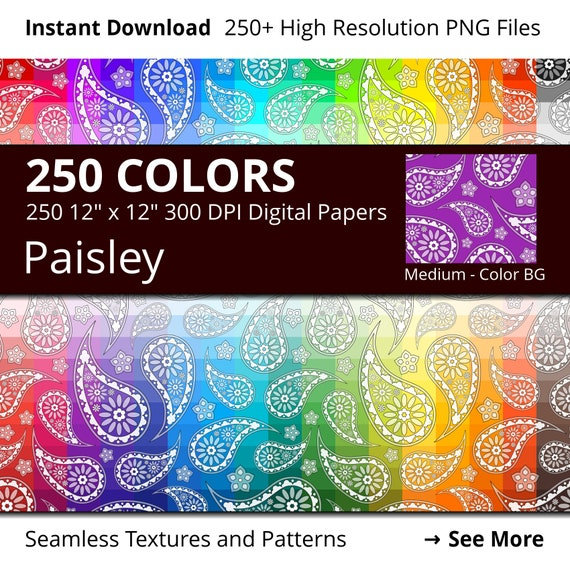 Paisley Digital Paper Pack 250 Colors Floral Digital Paper Etsy