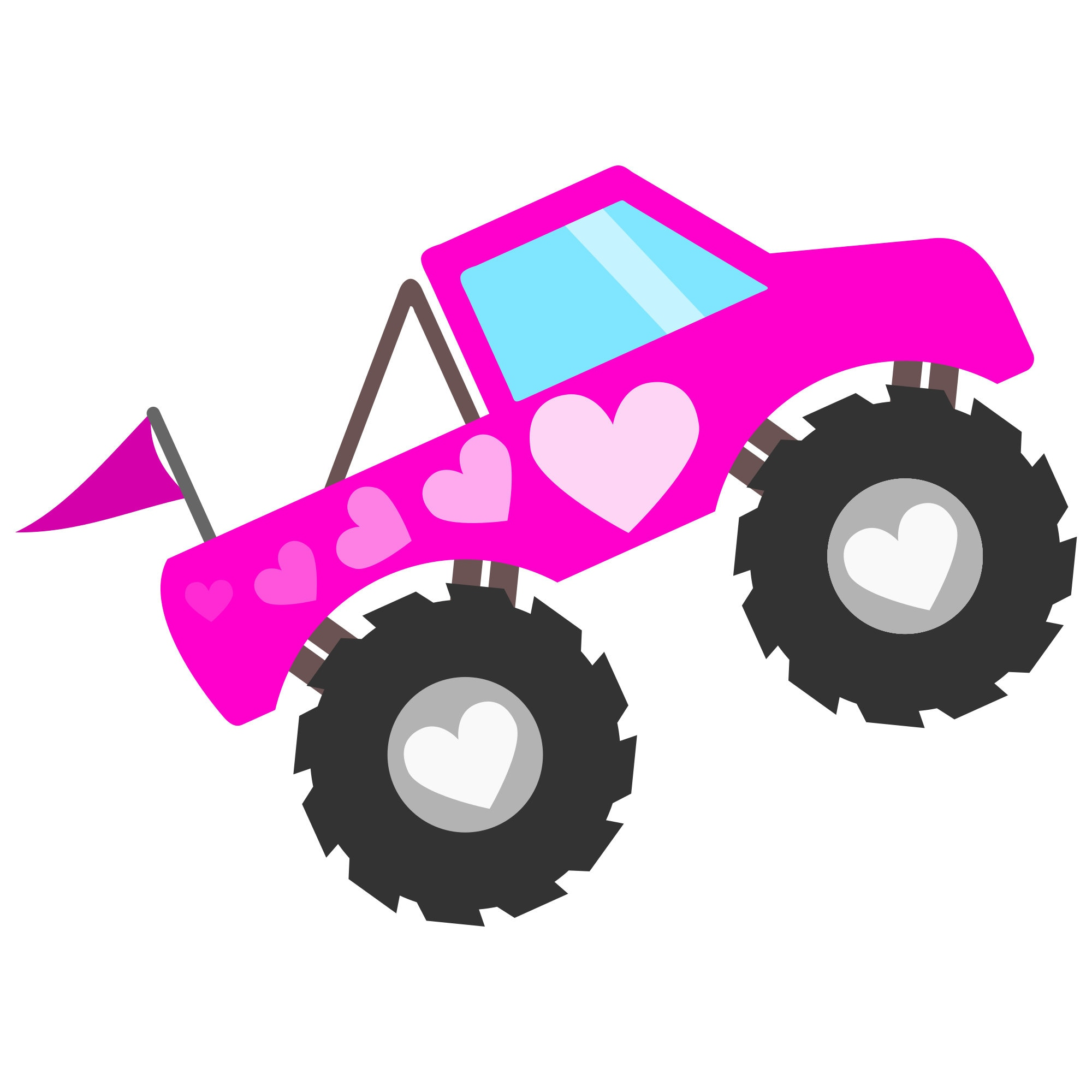 Pink Monster Truck Svg File With Hearts To Make Shirts Invitations And Gifts For Girls Who Love Monster Trucks