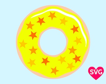 Yellow Donut Sprinkled with Candy Stars SVG file