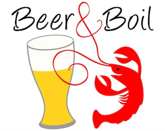 Crawfish Beer & Boil SVG File a very happy crawfish and a fresh beer clipart to make Crawfish boil invitations