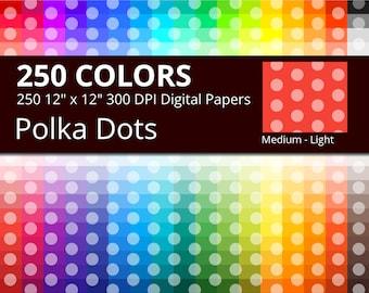 Polka Dots Digital Paper Pack, 250 Colors Polka Dots Scrapbook Paper Download, Rainbow Colors Dots, Medium Light Polka Dots Background