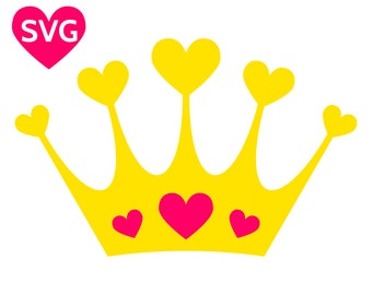 Hearts Crown SVG, Love Tiara printable clipart, a beautiful Love Crown with Hearts gems for a Queen or a Princess