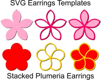 Plumeria Earrings SVG files, Silhouette and Cricut templates to make DIY Tropical Plumeria Earrings and Pendants