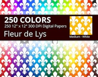 Fleur de Lis Digital Paper Pack, 250 Colors Medieval Digital Paper Fleur de Lys Crest, Medium Fleur de Lis Pattern, King Queen Papers