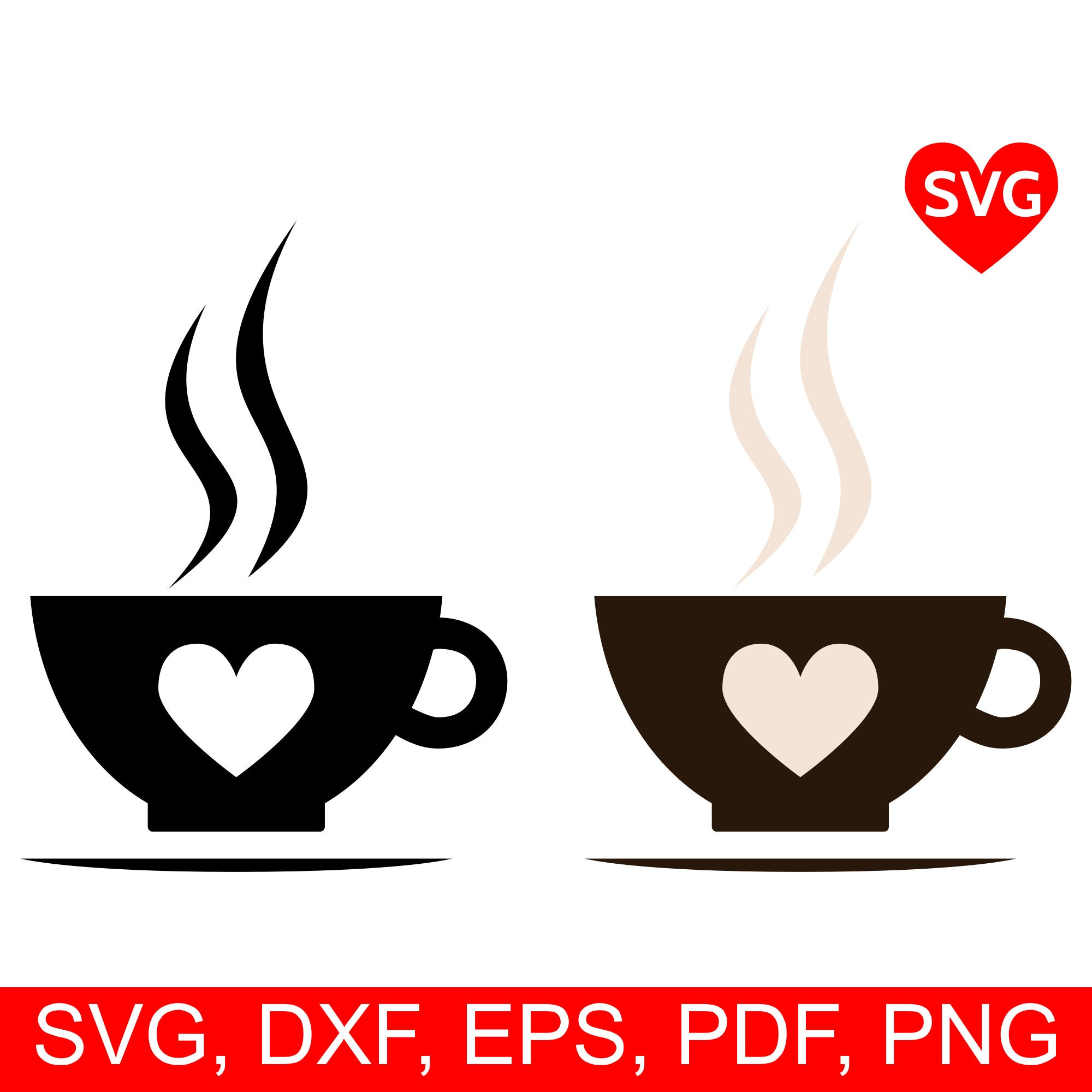 Hot Coffee Cup Svg File For Cricut And Silhouette Printable Smoking Coffee Cup With Saucer Clipart