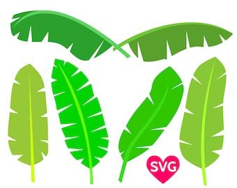 Set of 6 Tropical Banana Leaves to make a Tropical Decor or Backdrop, Banana Leaf art print, Tropical Birthday Party invites etc.