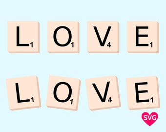 Spell out your Love with this Love with Scrabble Letter Tiles SVG design