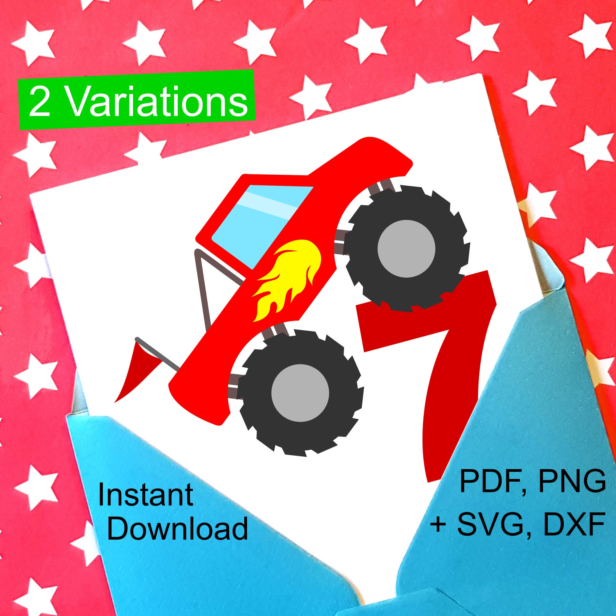 Monster Truck 7th Birthday Svg And Printable Clipart To Make