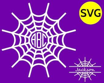 SVG Spider Web Monogram Frame SVG - Spiderweb / Cobweb Circle and Split Horizontal Monogram Frames - Monogram font not included