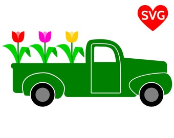 Spring Truck SVG File for Cricut and Silhouette, Spring Truck with Tulips SVG and printable clipart