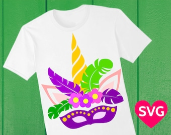 Unicorn Face with a Mask, Feathers and Flowers for Mardi Gras, SVG cut file and Printable Clipart
