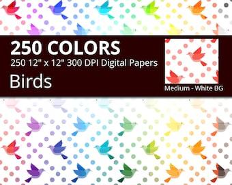 Vintage Bird Digital Paper Pack, 250 Colors Digital Paper Bird Background, Medium Digital Scrapbooking Bird Pattern on White Background