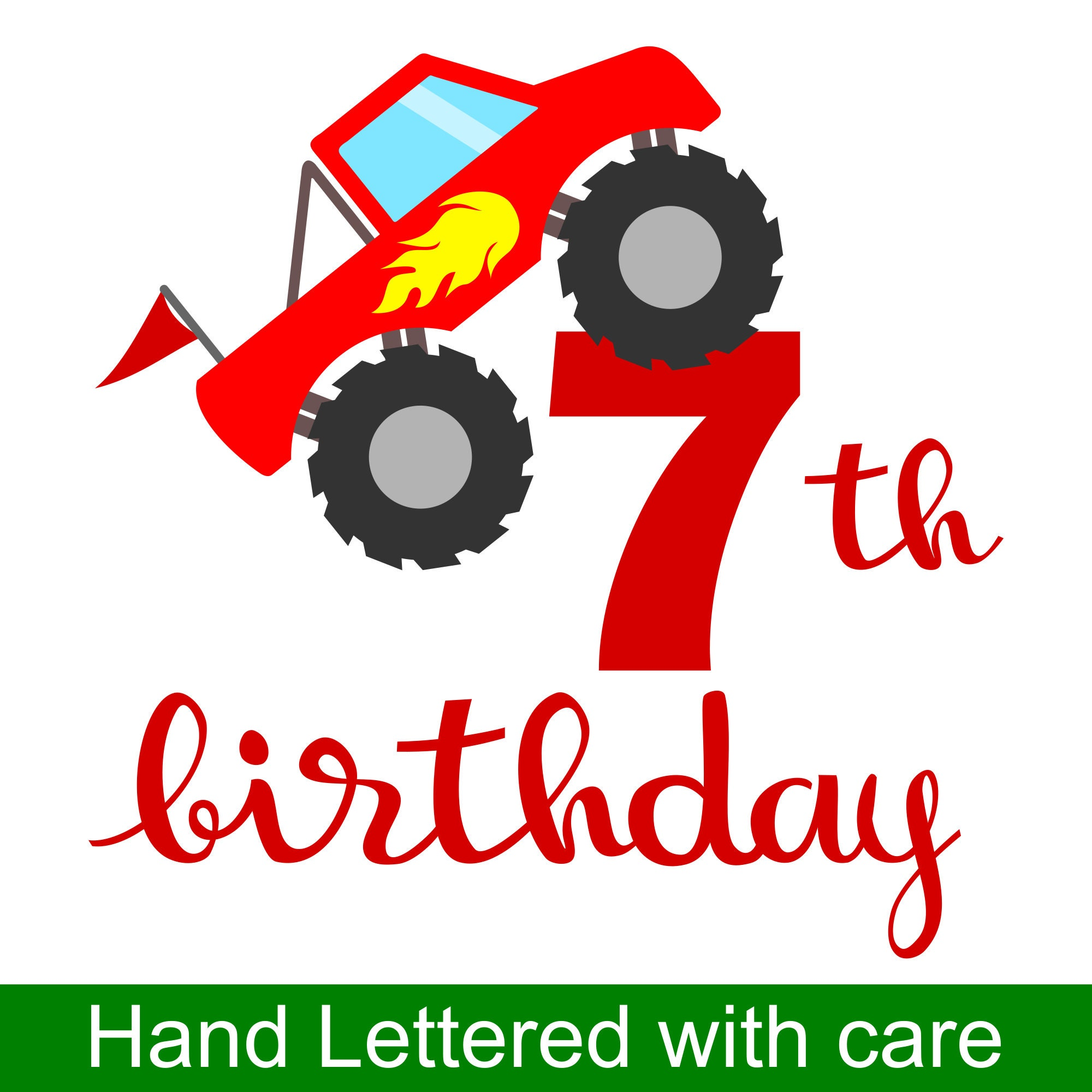 Monster Truck 7th Birthday SVG and Printable Clipart to make a 7th ...