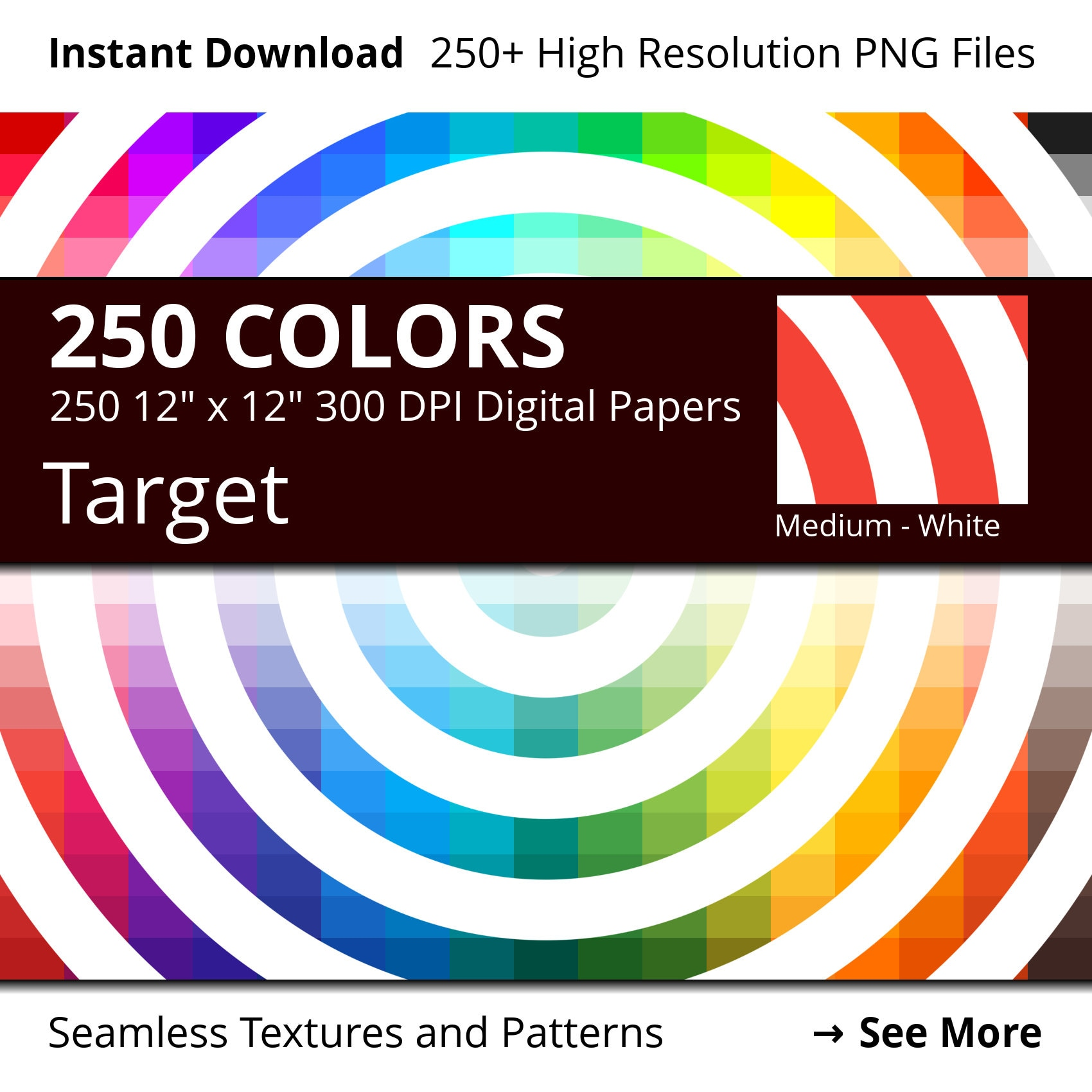 White Target Digital Paper Pack 250 Colors Etsy Green Circuit Board Picture Frame By Robyriker