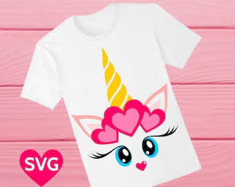 Cute Valentine's Day Gift For Her: Valentine Unicorn SVG file with hearts