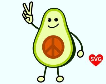 Avocado Peace Sign SVG File, Printable Peace Clipart, Peace Avocado Clip Art, Peace SVG File, Peace SVG files for Cricut, Cool Peace Design