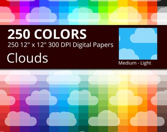 Tinted Clouds Digital Paper Pack, 250 Colors Digital Paper Cloud Scrapbooking Sky Paper, Rainbow Medium Lightly Colored Cloud Background