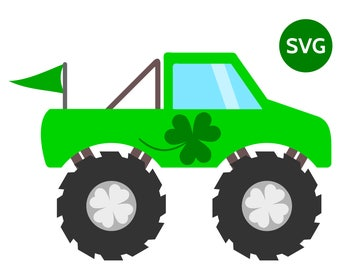 St Patrick's Day SVG Monster Truck with Shamrock and 4 Leaf Clover to make St Patricks cards and shirts