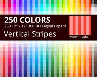 Vertical Stripes Digital Paper Pack, 250 Colors Vertical Stripes Scrapbook Paper Download, Medium Light Vertical Stripes Background