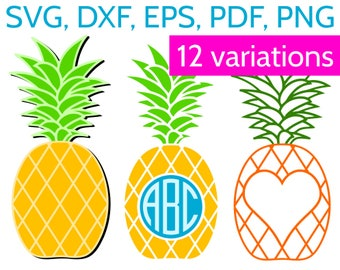 Pineapple SVG + Pineapple Monogram Frame (Round, Heart and Split Frames) for Cricut & Silhouette - SVG Bundle with 12 Clipart SVG cut files