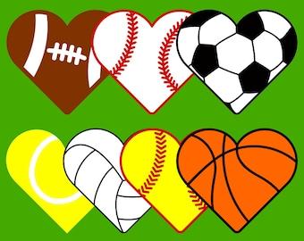7 Sports Hearts SVG files for Cricut & Silhouette : heart shaped balls for basketball, volleyball, tennis, softball, baseball, soccer