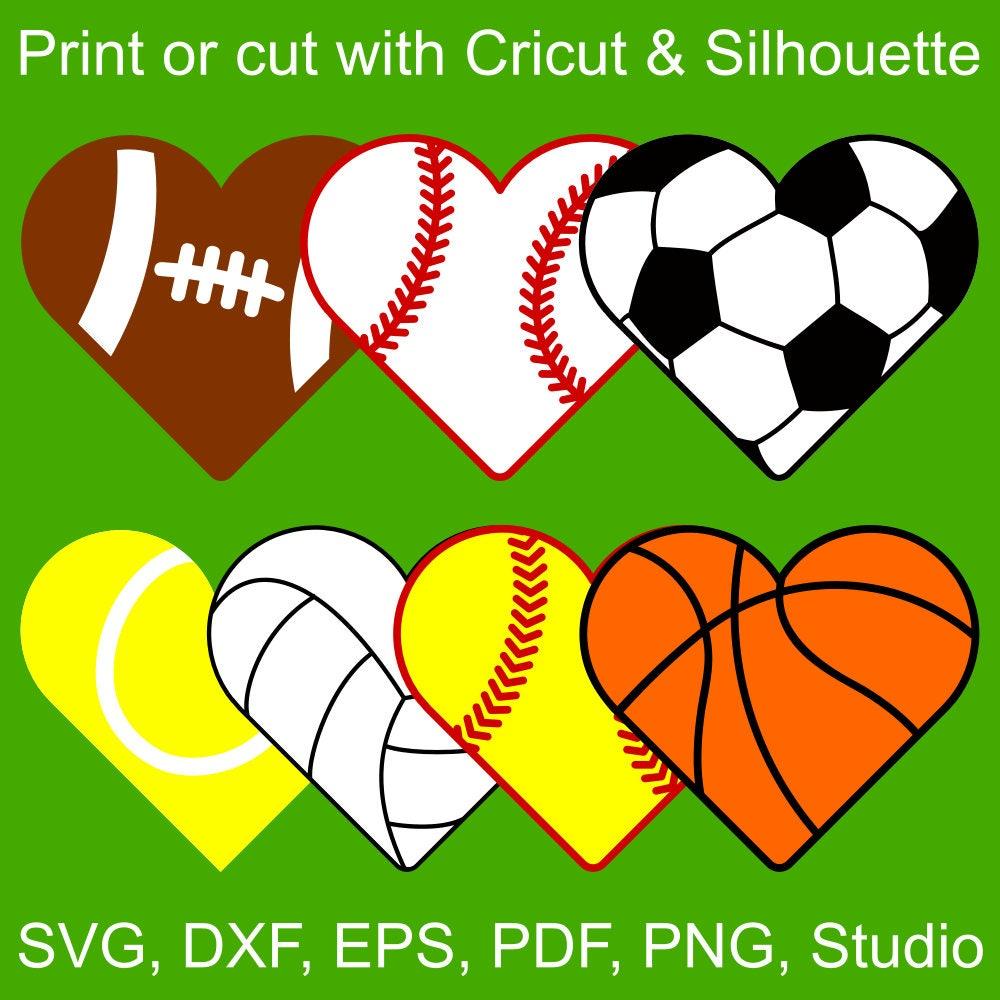 7 Sports Hearts Svg Files For Cricut Silhouette Heart Shaped Balls For Basketball Volleyball Tennis Softball Baseball Soccer