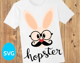 Mr Easter Hopster Bunny SVG file, Hipster Bunny clipart with Mustache and Glasses