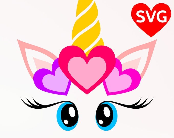 Featured listing image: SVG Love Unicorn Face with Hearts, Valentine's Day SVG, Unicorn Head with Heart SVG cut file for Cricut & Silhouette, Valentines svg design