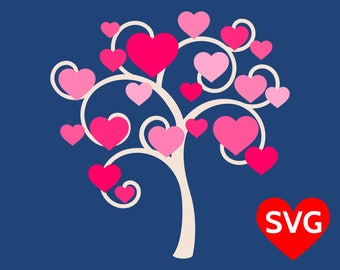 Valentine's Day Tree of Love SVG file for Cricut & Silhouette, a beautiful Love Tree with curvy branches and lots of hearts!