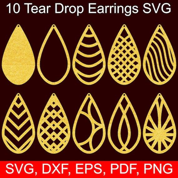 10 Tear Drop Earrings Svg Files Tear Drop Svg Cut Files For Etsy