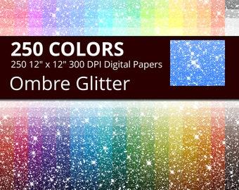 Ombre Glitter Digital Paper Pack, 250 Colors Digital Glitter Ombre Texture Scrapbook Paper Download, Rainbow Glitter Digital Papers