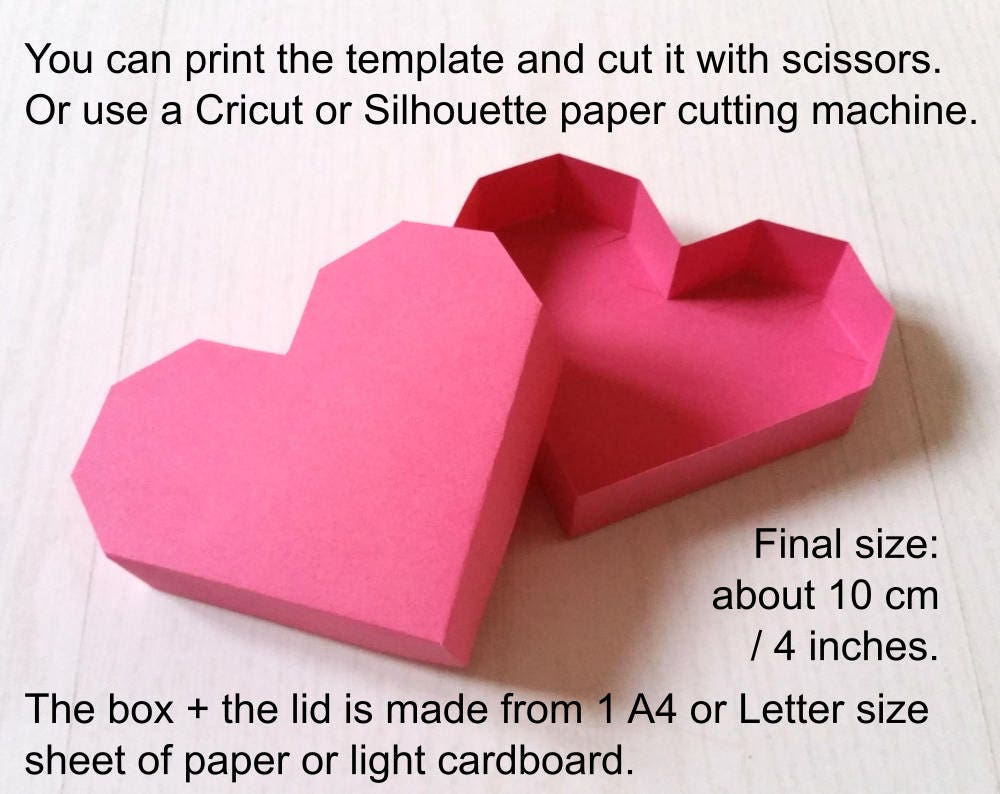 Valentines Day DIY Heart Paper Box Template PDF For Hand Cutting SVG Cricut Silhouette 3D Papercraft With Lid Valentine Svg